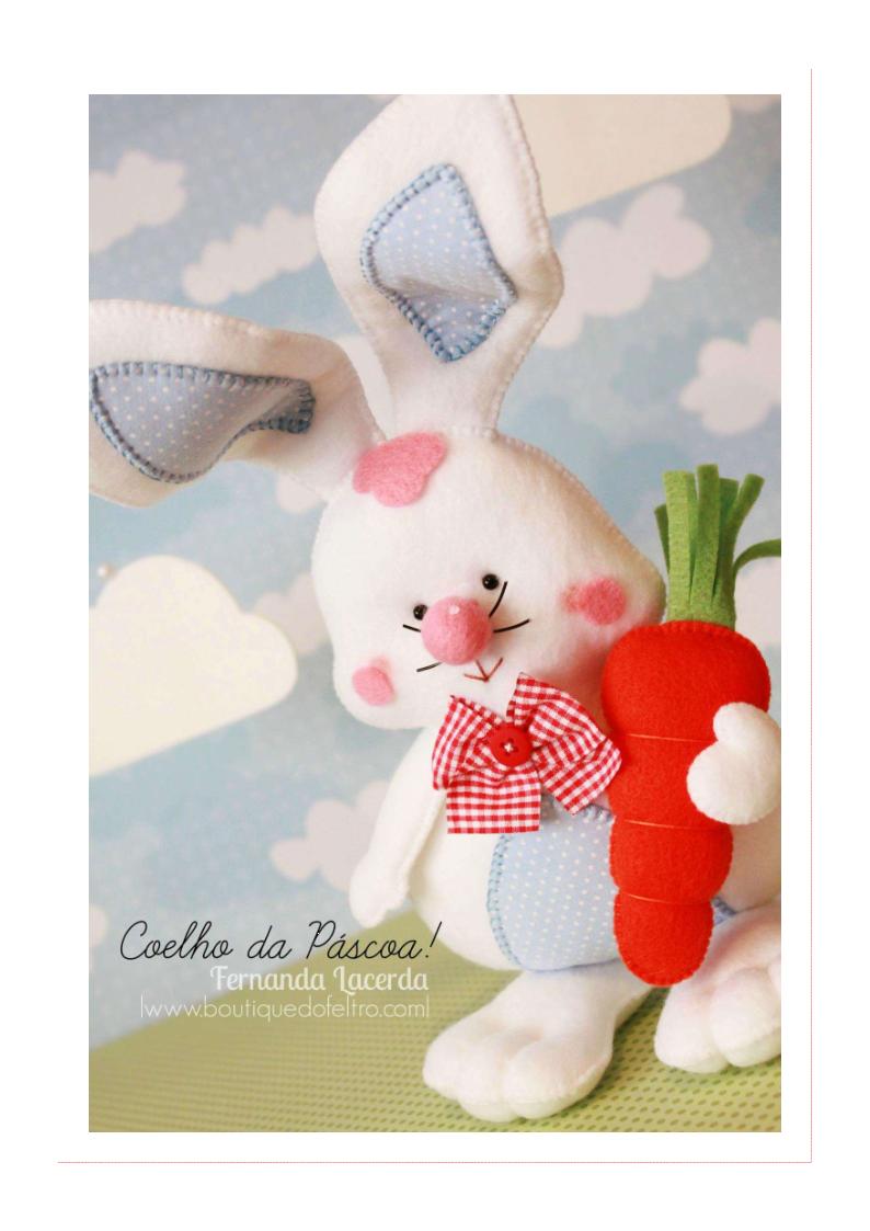 Coelhinho de feltro | Stofftiere, Puppen und Nähen