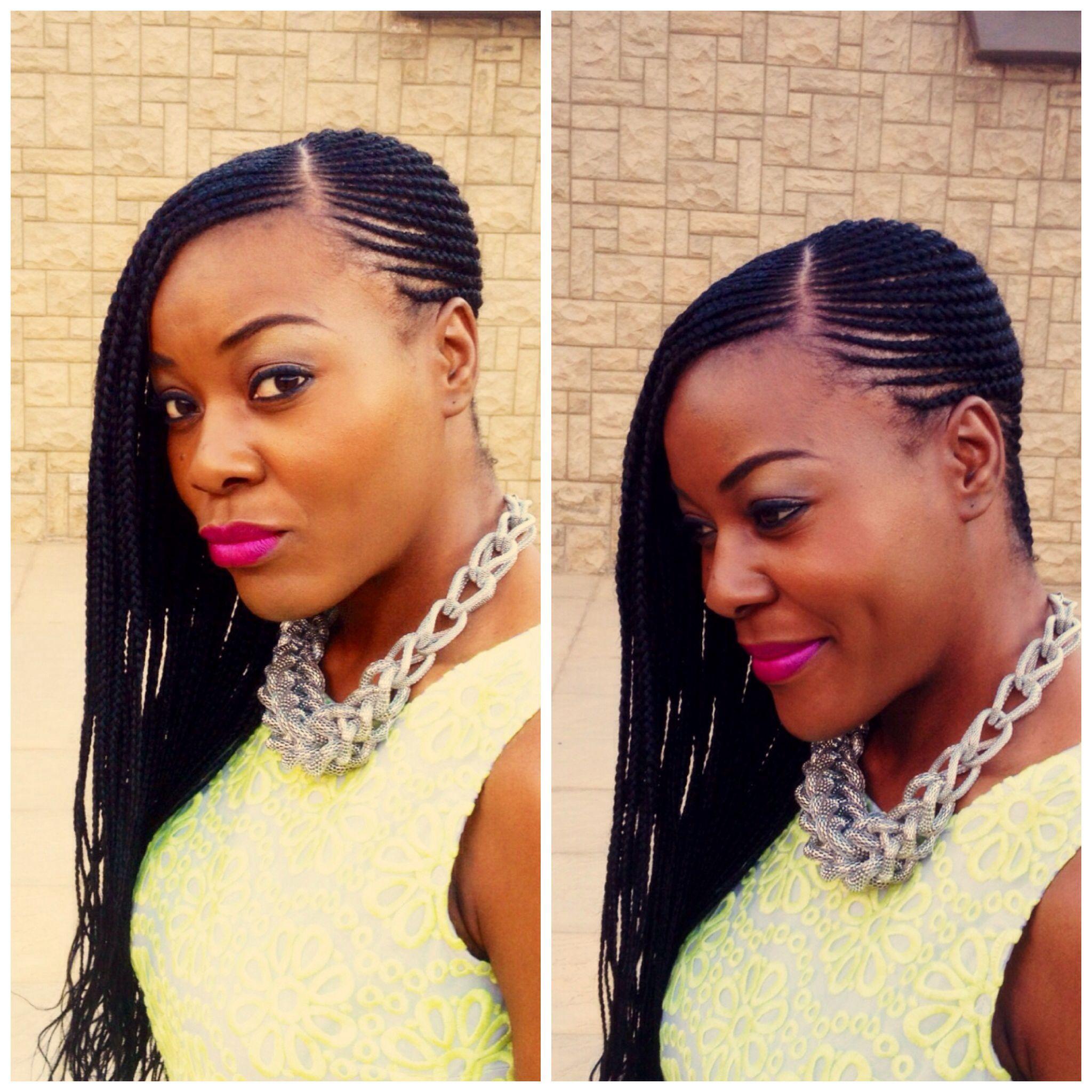 Ghanaian Bridal Styling With Straight Hair: Ghana Braid, #braids ~African Fashion, Ankara, Kitenge