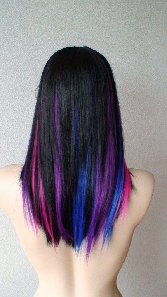 Purple Pink Blue Black Hair Inspo Hair Streaks Hair Styles Dyed Hair