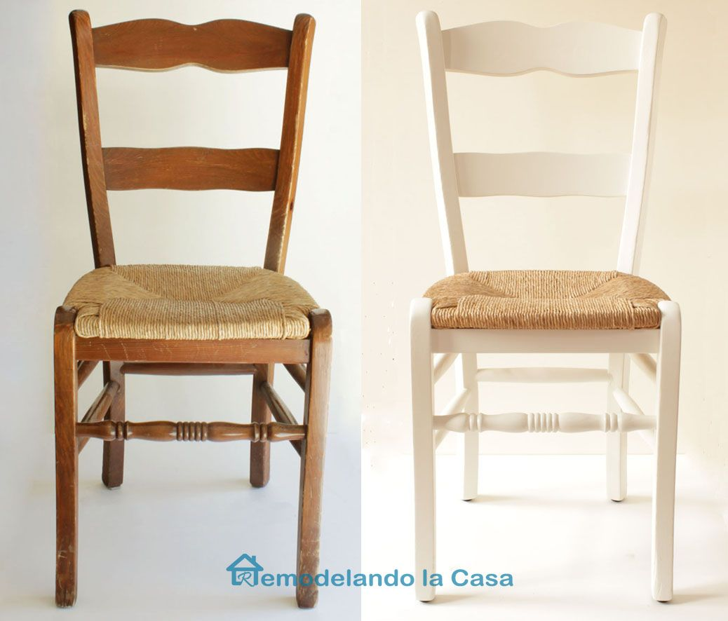 Kitchen table and chairs makeover que chulo for Sillas blancas tapizadas