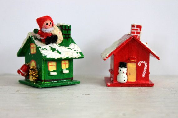 Pair of vintage wooden christmas houses christmas village