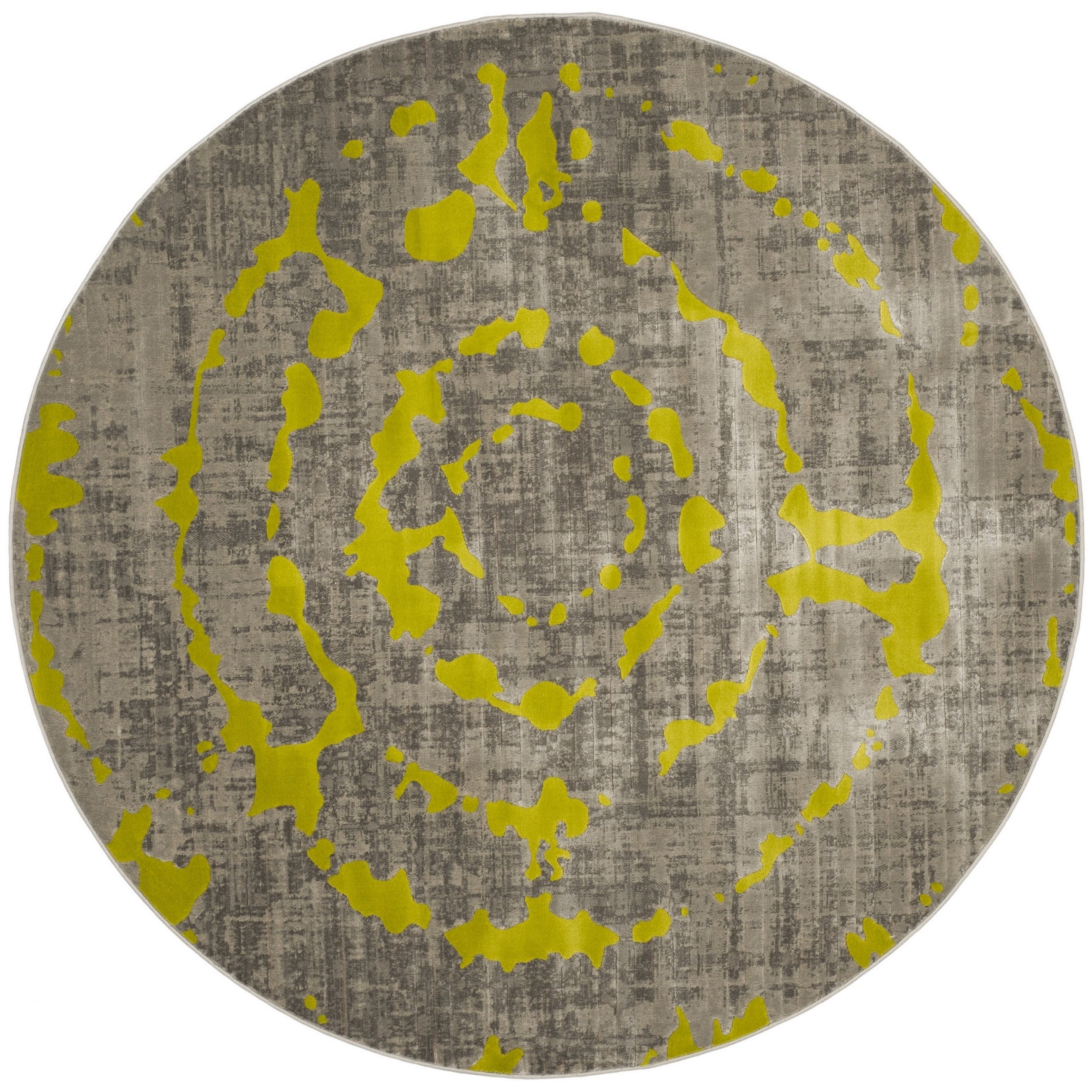 Safavieh Porcello Abstract Contemporary Light Grey/ Green Rug (6'7 Round) | Overstock.com Shopping - The Best Deals on Round/Oval/Square