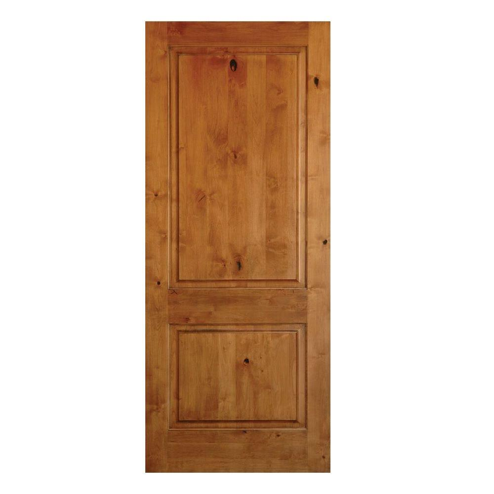 Krosswood Doors 28 In X 80 In 2 Panel Square Top Solid Wood Core Rustic Knotty Alder Left Hand Single Prehung Interior Door Kw 305 2468 Lh The Home Depot Wood Doors Interior Prehung Interior Doors