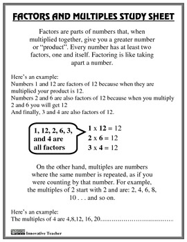 Factors And Multiples Study Guide And Worksheet By Innovative Teacher Factors And Multiples Math Study Guide Studying Math