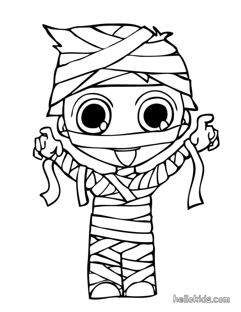 Imagen de dibujos: Colorear - Halloween - Momia   Halloween ...