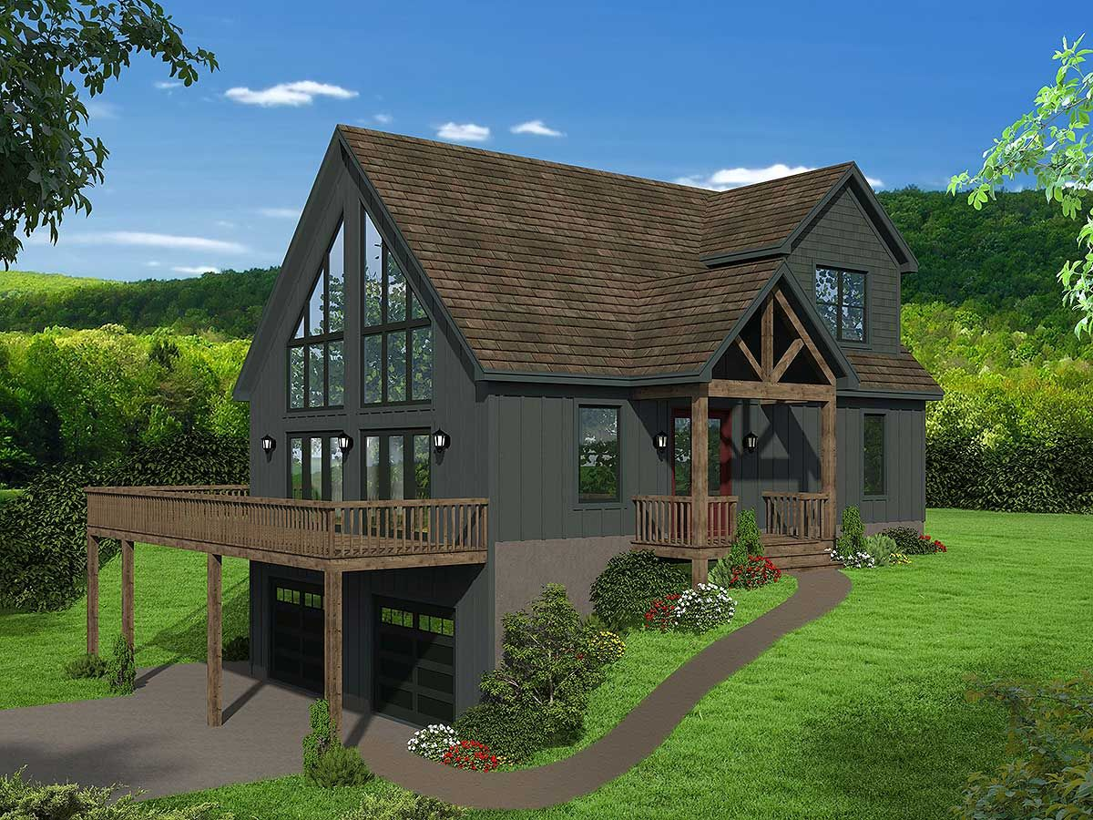 Plan 68623vr Two Story Mountain House Plan With Vaulted Master Loft Craftsman Style House Plans Mountain House Plans Brick Exterior House