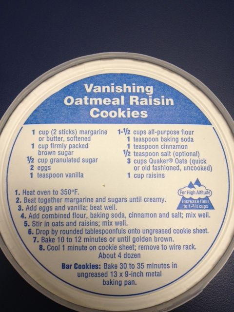 Quaker Oatmeal Cookie Recipe Which Is Included In The Box Lid For