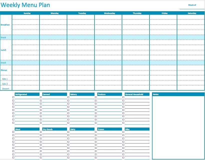 Weekly Menu Planner Template for Numbers Weekly menu planners - breakfast menu template