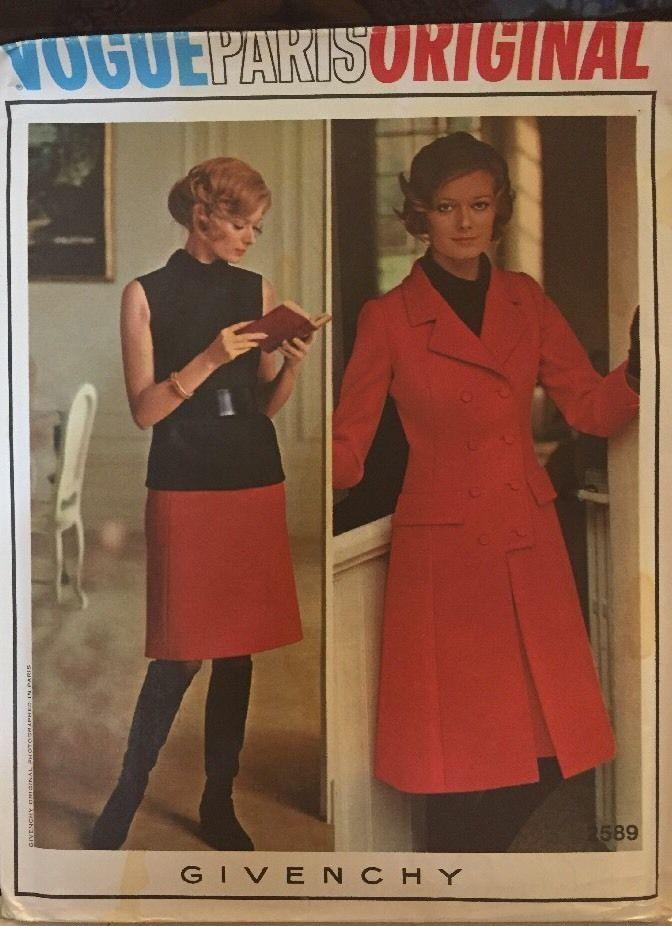 Vogue 2589 Size 10 Givenchy Coat Skirt Blouse Pattern Vtg Uncut No ...