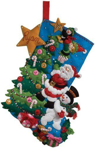 Bucilla 18-Inch Christmas Stocking Felt Applique Kit, The Finishing