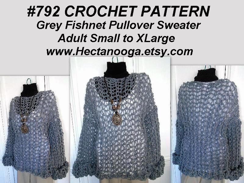 4 Name Crocheting 792 Crochet Sweater Grey Fishnet Crochet