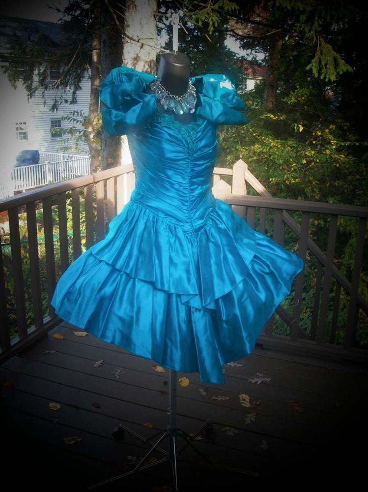 Vintage 80s Wild Child Aqua Prom Party Dress S 80s Prom Dresses