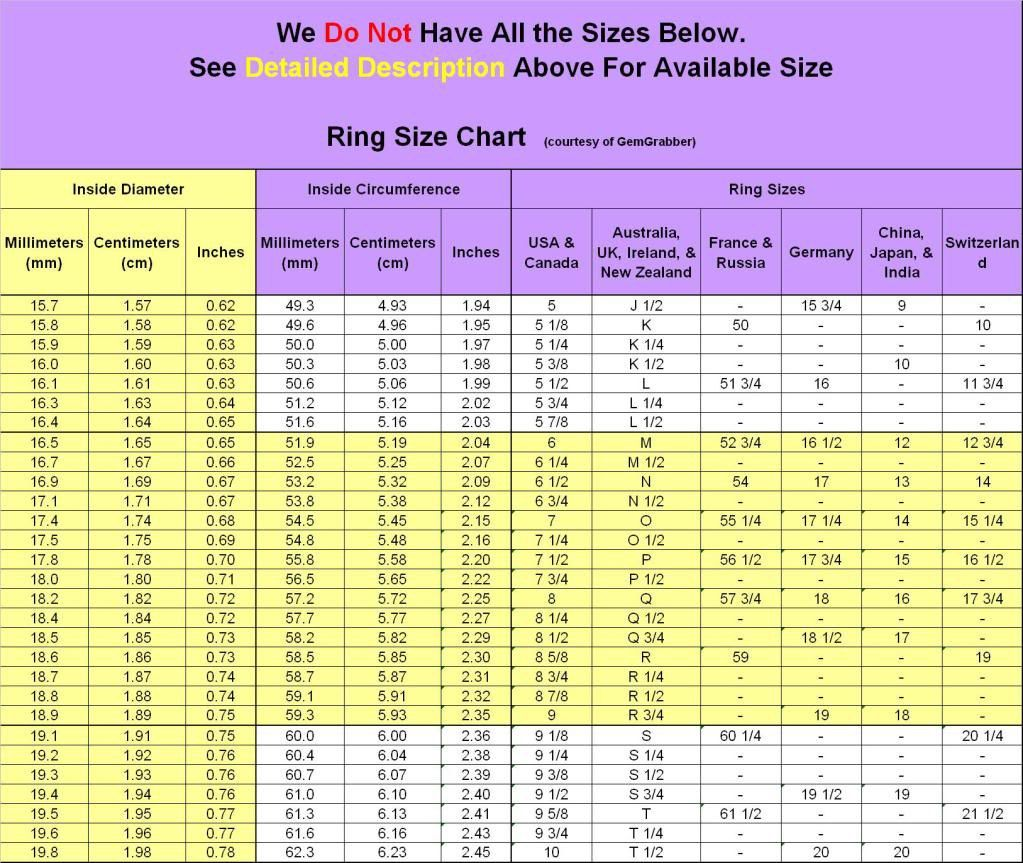 Ring size chart sizing charts for sewing pinterest ring size chart nvjuhfo Choice Image