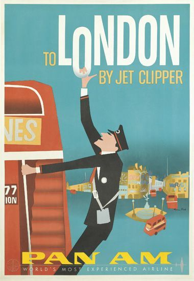 Anglo American Relations Quad Royal London Travel Poster Vintage Airline Posters Vintage Airline Ads