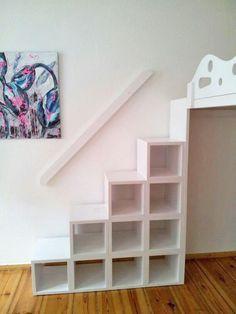 Hochbett / Hochetage mit Treppenregal | Hochbett | Pinterest ... | {Kinderzimmer ideen für kleine zimmer 69}