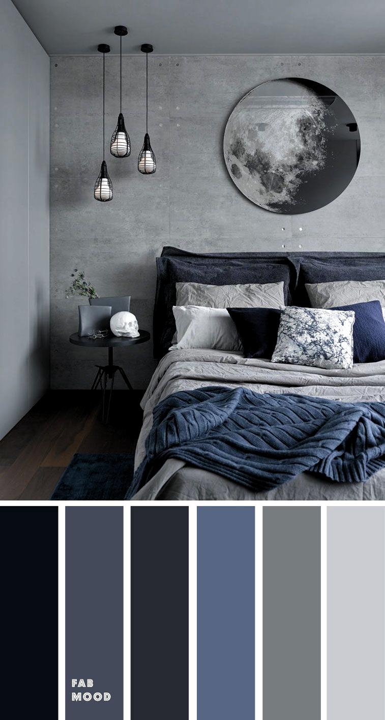 Photo of Grå og mørkeblå Soveværelse fargevalg Grå soverom fargeideer # soverom #blå …