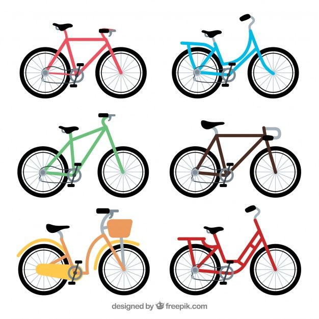 Collection of colorful bike in flat desi... | Premium Vector #Freepik #vector #design #sport #fitnes...