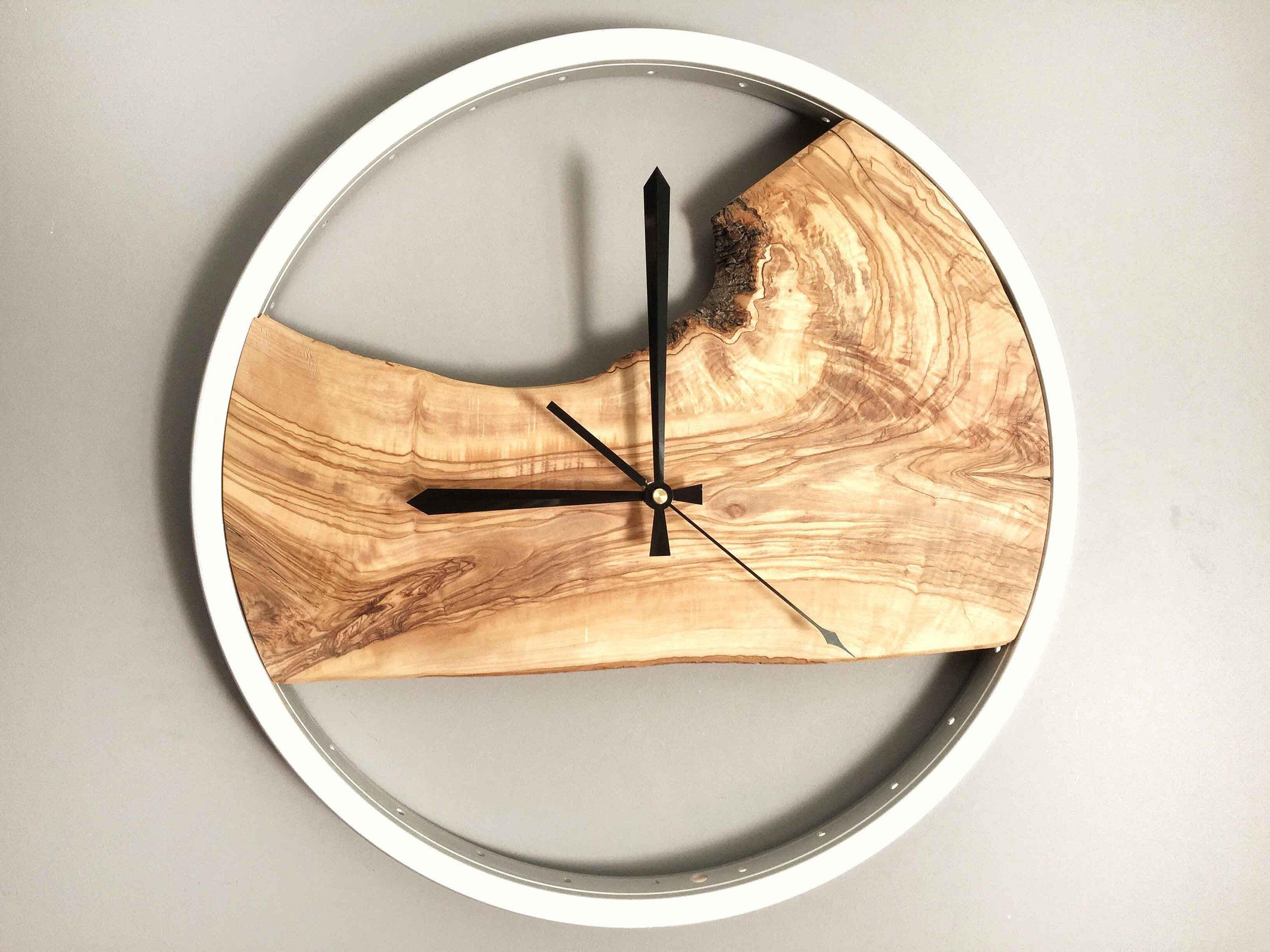 Bike Wood Clock Wooden Wall Clock Wood Wall Clock Modern Wood Clock Large Clock Wall Unique Wall Clock Wood Live Edge And Steel Frame Wood Wall Clock Wall Clock Wooden Wood