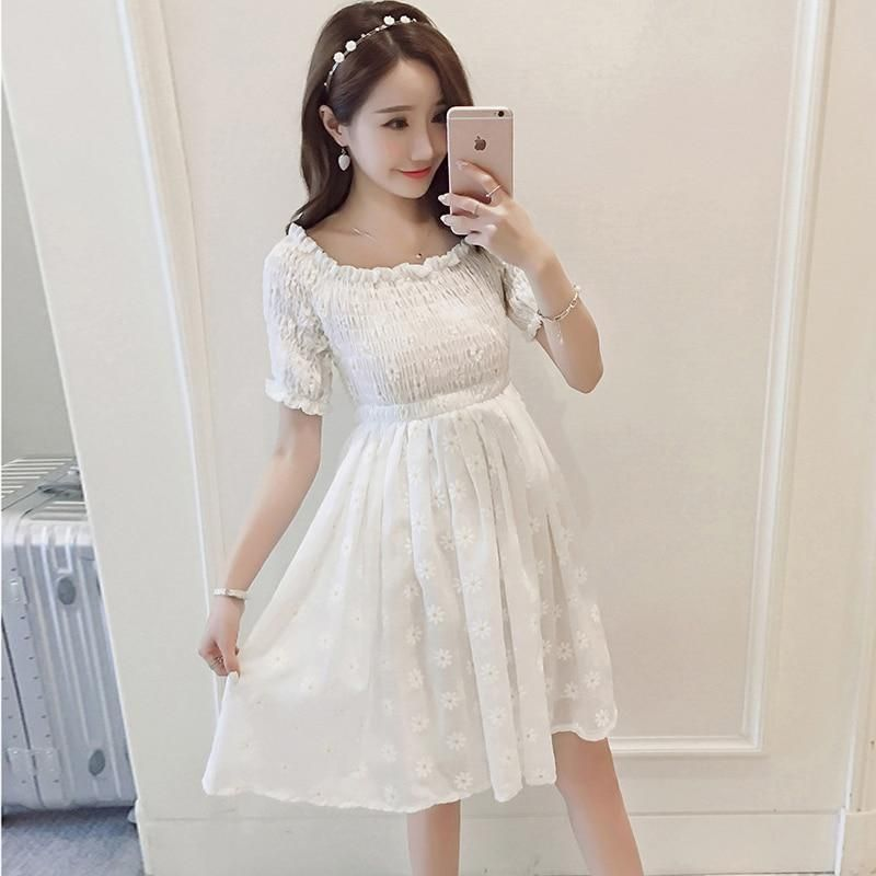 5c18cfb15b15 Maternity Dresses Summer Korean version Printed Maternity Dress Hot Mom  Slim Clothes for Pregnant Women Beach