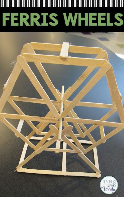 STEM Challenge; kids build a Ferris Wheel using craft sticks! This challenging STEM project is the most fun as kids tackle creating two symmetrical sides and connecting them to still allow turning. #STEM #Ferriswheel
