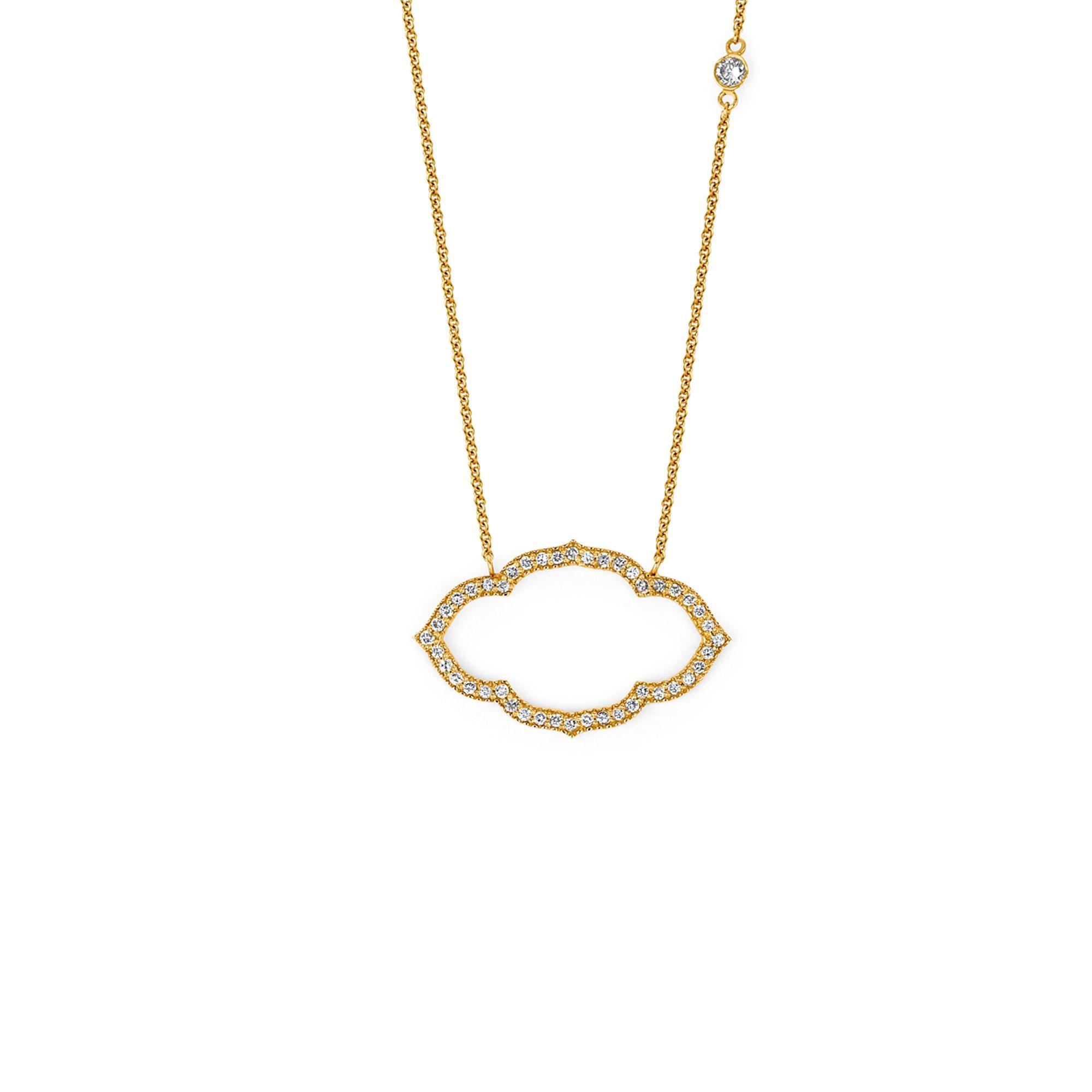 TAJ Horizontal Petite Necklace || 18k GOLD WHITE DIAMOND TAJ HORIZONTAL PETITE NECKLACE ON 16″ CHAIN ||  GOLD: 3.1 g TDW: 0.21 ct || #SaraWeinstockJewelry #SWGem
