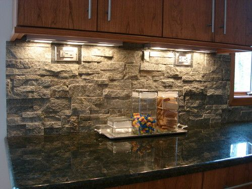 Stacked Stone Kitchen Backsplash Cabinets Kansas City We Are Doing This In Our So Excited