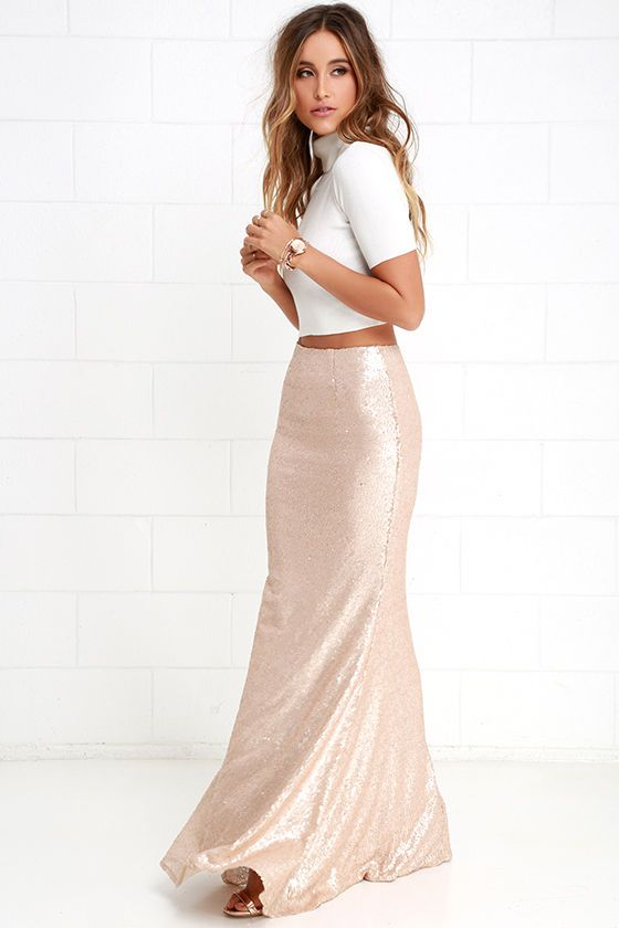 Sea Spray Matte Gold Sequin Maxi Skirt | Maxi skirts, Skirts and ...