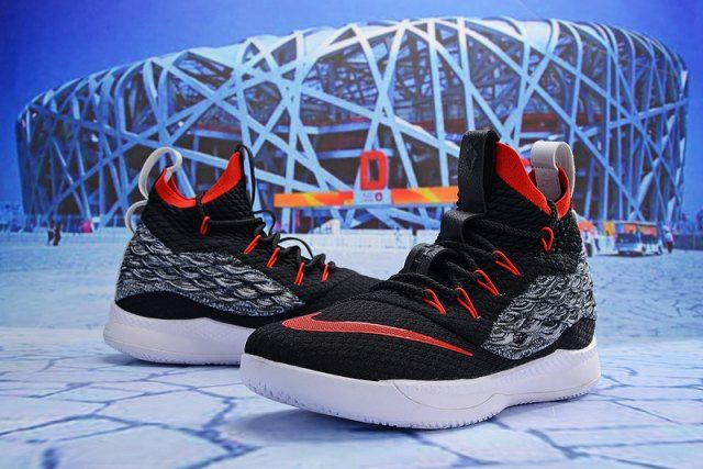 76fc45fbef3c Nike LeBron 15. 5 Black Red Grey White James Trainers Men s Basketball Shoes