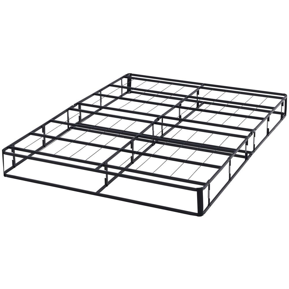 Queen Metal Box Spring Bed Frame Half Fold Platform Sturdy Black