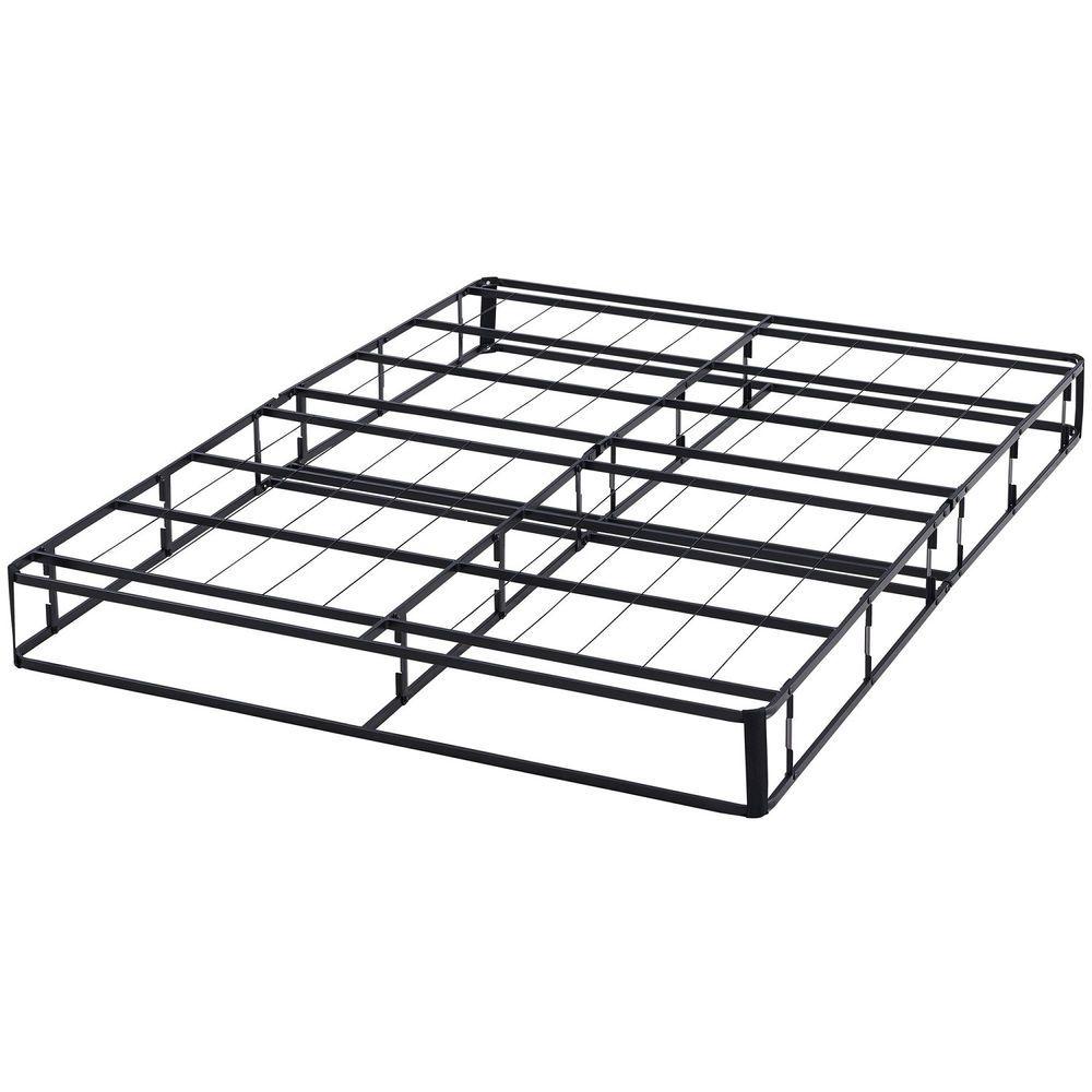 Queen Metal Box Spring Bed Frame Half Fold Platform Sturdy Black Steel Finish Mainstays Metal Box Box Spring Box Spring Bed Frame