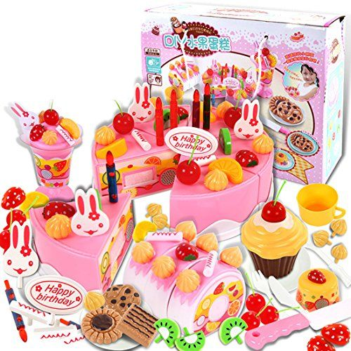 75pcs Birthday Cake Pretend Play Food Toy Set Yifan Plastic Kitchen