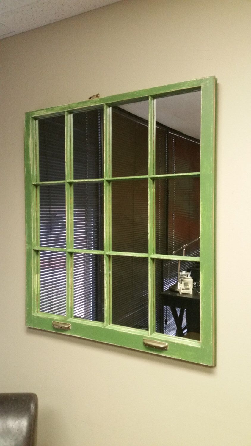 Green Mirror Made From A Vintage 1950 S Window Handmade