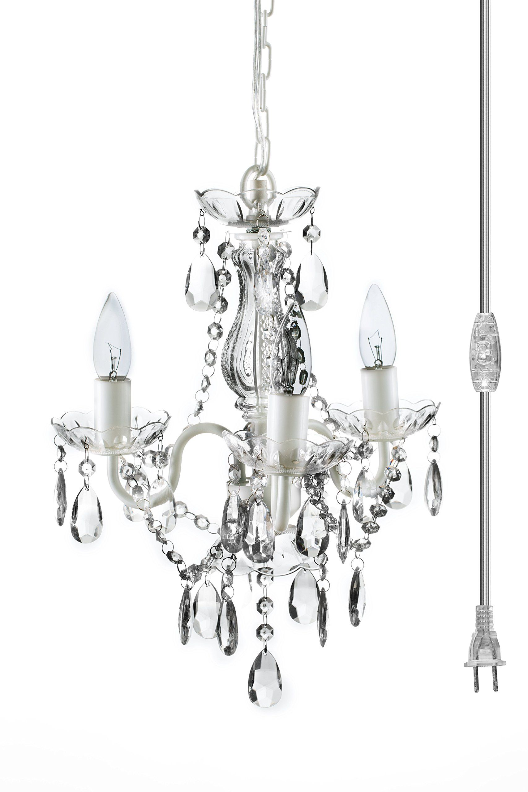 4 Light Shabby Chic Crystal Plug In Chandelier White Plug In