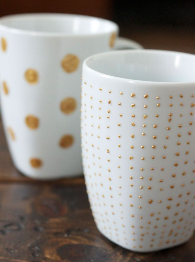 DIY: Gold + White Mugs | The Fox & She