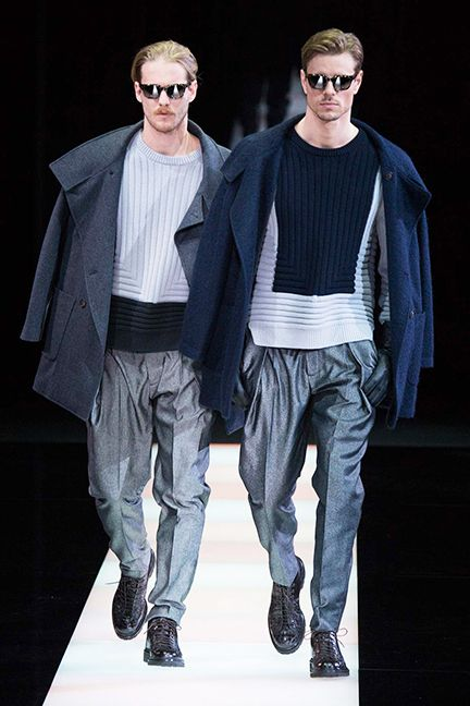 Looks from Giorgio Armani's Men's Fall 2015 collection.