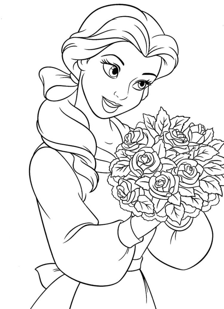 Princess Belle With Roses Coloring Pages Coloriage Disney Coloriage Princesse Disney Coloriage Princesse