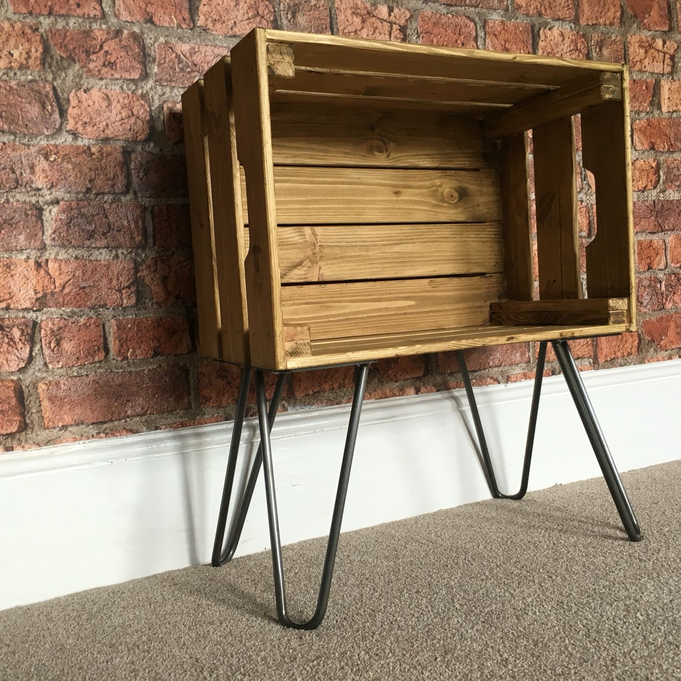 Hairpin legs and crate for a bedside table Wooden