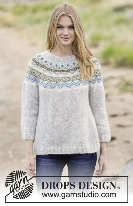 Gorgeous #DROPSDesign jumper with round yoke and #Nordic pattern ...