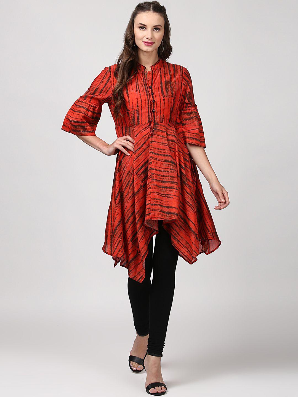 6e4ca45e66ffd9 Ritu Kumar Dyed Asymmetrical Hemline Kurta #RituKumar #Dyed #Red #Kurta  #Kurtis #Casual #Asymmetric #Silk #Designer #Festive #party