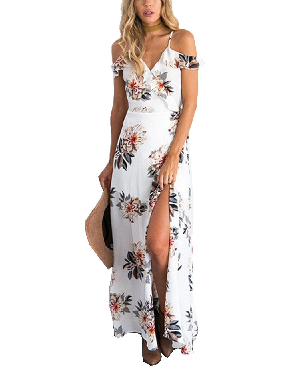 Colorful house women spaghetti strap wrap maxi dress v