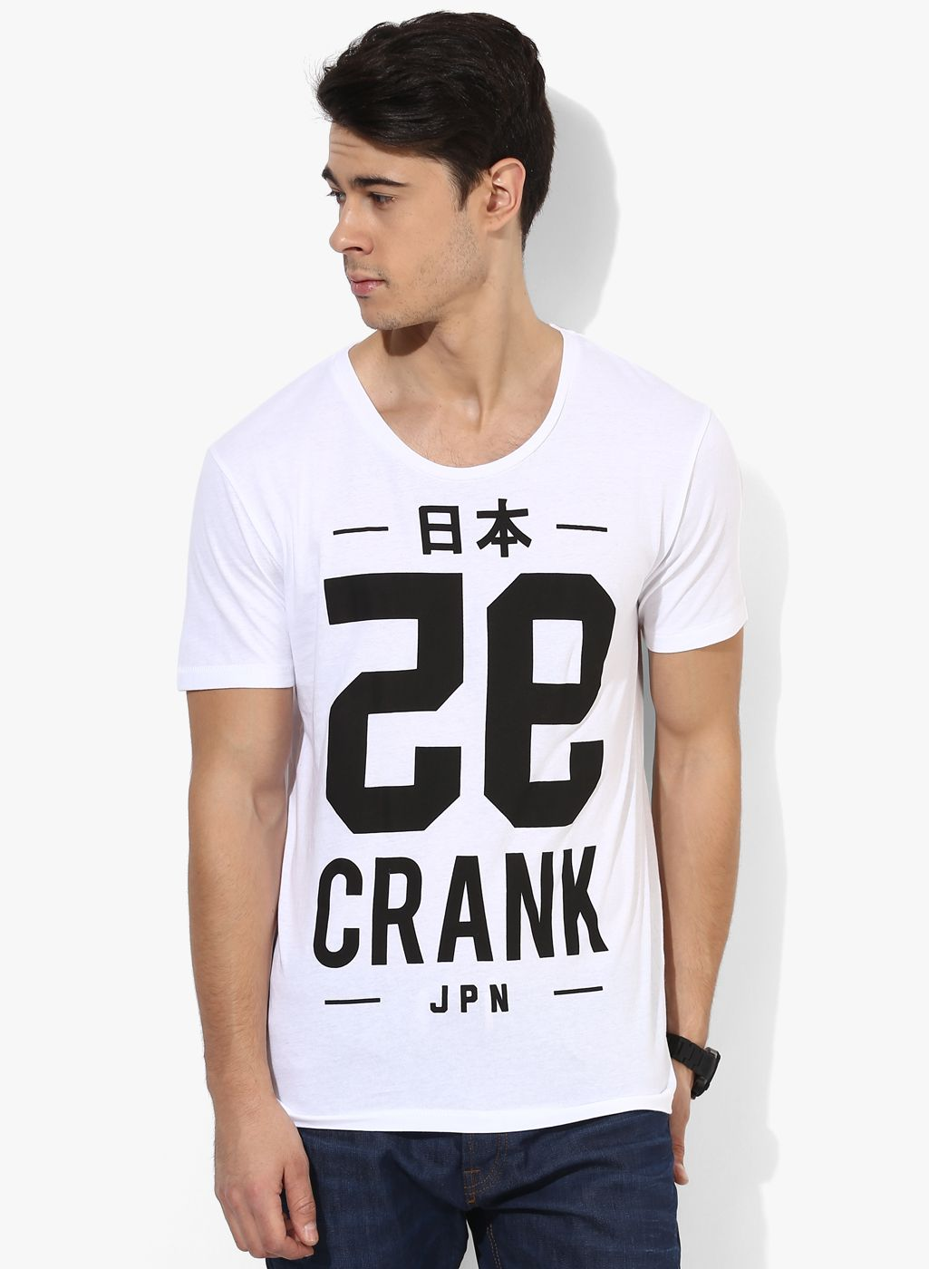 Buy Tom Tailor White Printed Round Neck T-Shirt for Men Online ...