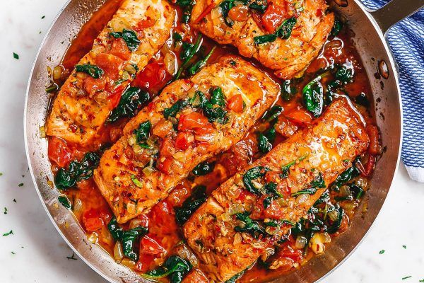 Tuscan Garlic Butter Salmon Skillet with Spinach and Tomato #searedsalmonrecipes