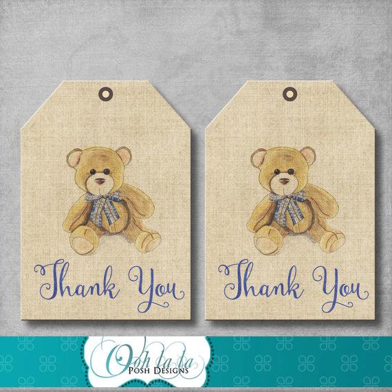 Vintage Teddy Bear Favor Tags Teddy Bear por OohlalaPoshDesigns