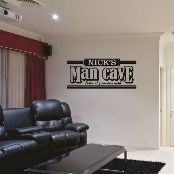 Man Cave Wall Decal Personalized Man Cave Decal Bar Wall Decal - Custom vinyl wall decals for garage