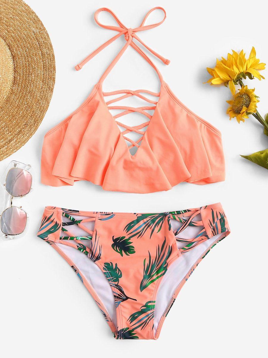 2aa74ac2ab Criss Cross Top With Random Leaf Print Bikini -SheIn(Sheinside)   II ...