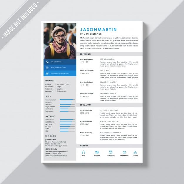 Download White Cv Template With Blue And Grey Details For Free Cv Template Cv Resume Template Resume Template