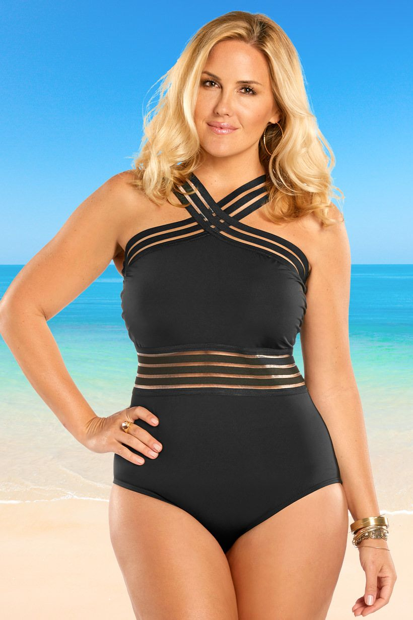 092713b9f86 High Neck One Piece, Plus Size One Piece, Women's Plus Size Swimwear, Curvy