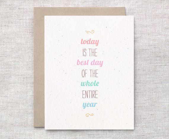 Cute Birthday Card Happy Birthday Card Typography Eco Friendly – Birthday Cards Etsy