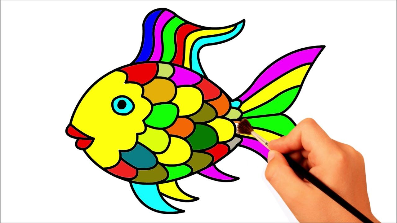 Rainbow Fish Drawing Coloring Coloring Page For Kids Learn Colors Fish Drawings Rainbow Fish Coloring Pages For Kids
