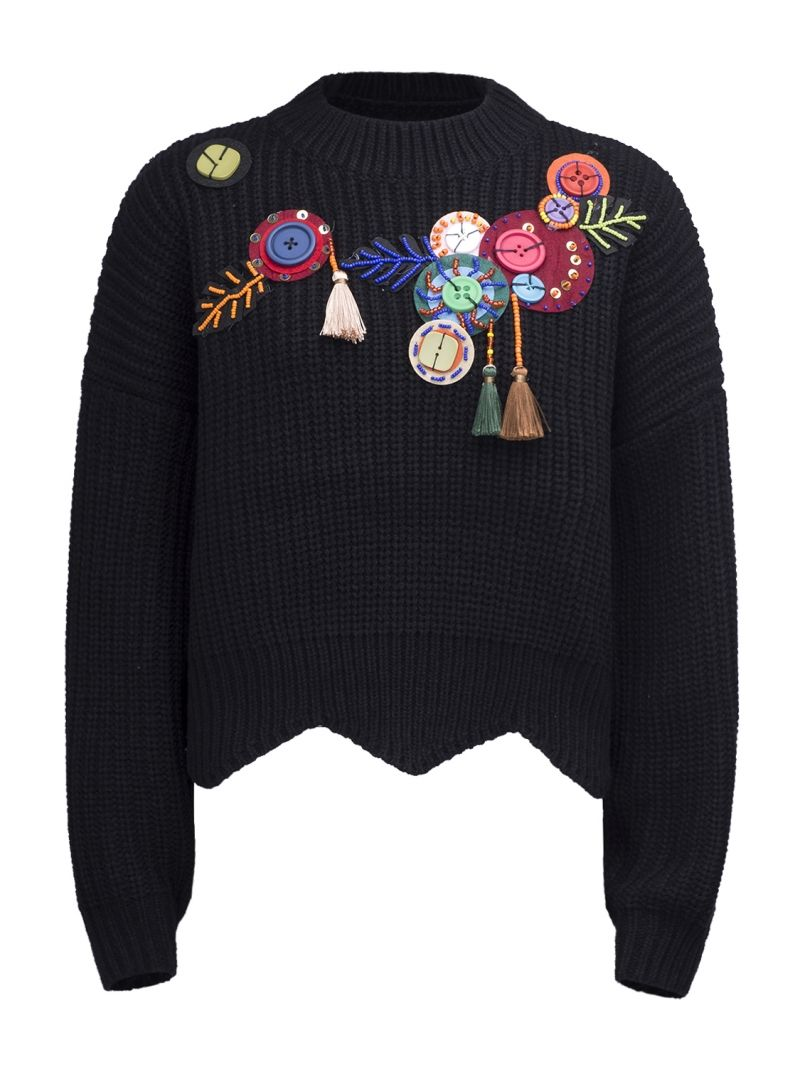Buy Black Button And Patch Embellished Tassel Scalloped Hem Sweater from abaday.com, FREE shipping Worldwide - Fashion Clothing, Latest Street Fashion At Abaday.com